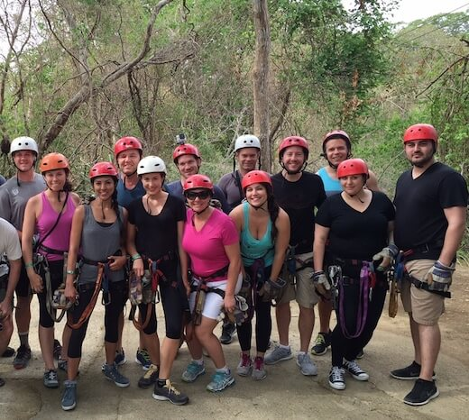 Turn on your images to see this group shot of us zip-lining in Costa Rica.
