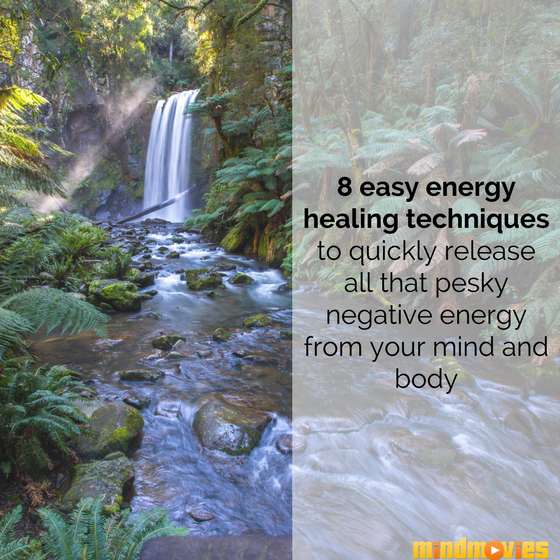 Soothing waterfall sound as energy healing technique