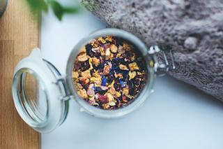 mix of herbs and spices in tea