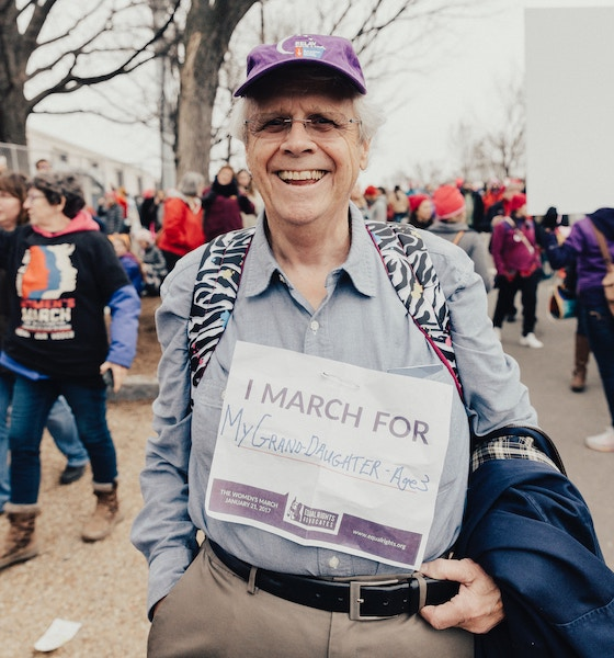 Grandfather at women's march