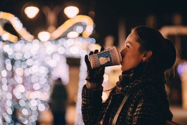 Woman Drinking Holiday Beverage