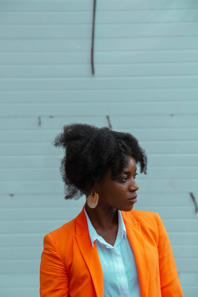 Pondering Woman in Suit