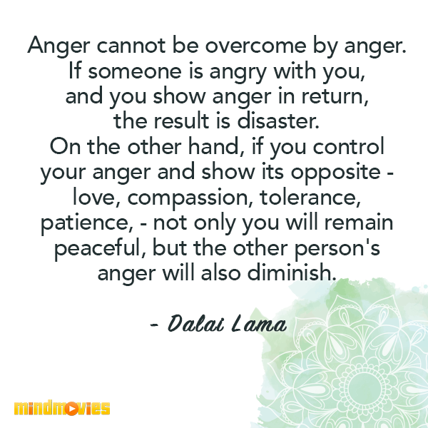 Anger cannot be overcome by anger. If someone is angry with you, and you show anger in return, the result is disaster. On the other hand, if you control your anger and show its opposite - love, compassion, tolerance, patience, - not only you will remain peaceful, but the other person's anger will also diminish. - Dalai Lama
