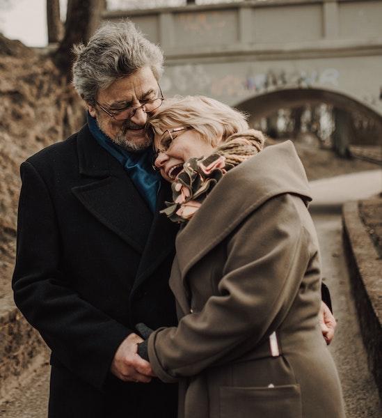 Happy Older Couple Embracing