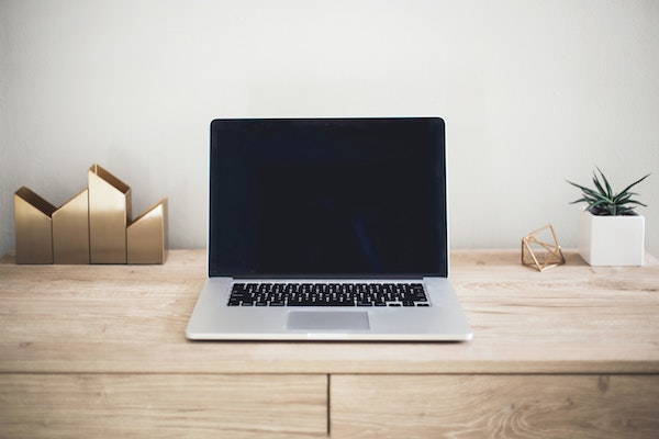 Laptop on Minimalist, Organized Desk