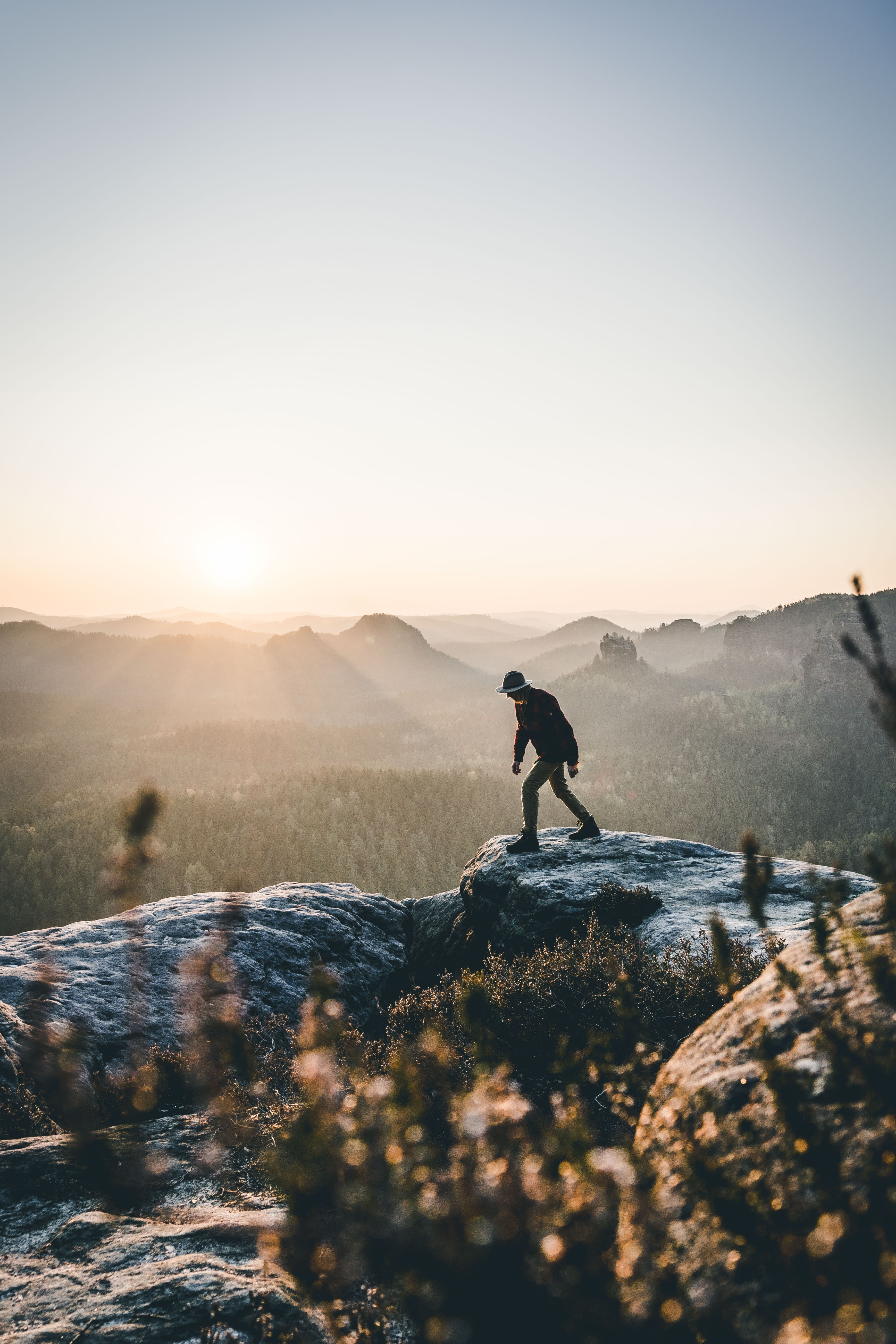 Person Hiking Overlooking Landscape